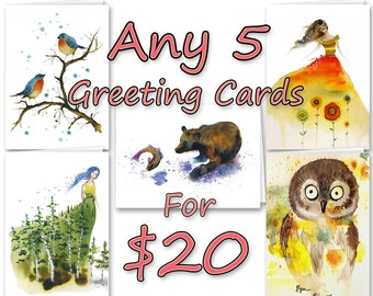 Any 5 Greeting Cards - Choose any five of my 50+ greeting card titles for one low price. All are blank inside and include an envelope.