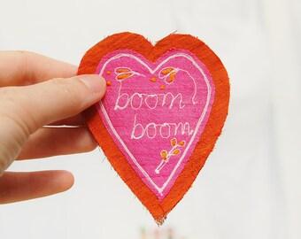 SALE textile art silk heart brooch - 'boom boom' written embroidery