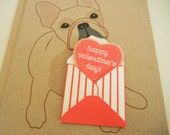 Valentine Nuri the French Bulldog with Mini Envelope and Felt Heart Valentine's Day Note Card with Envelope
