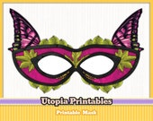 Printable Masquerade Butterfly Mask - Pink
