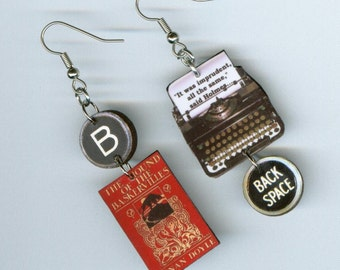 Book Earrings - The Hound of the Baskervilles Sherlock Holmes quote - typewriter jewelry - literary mystery book lovers readers gift
