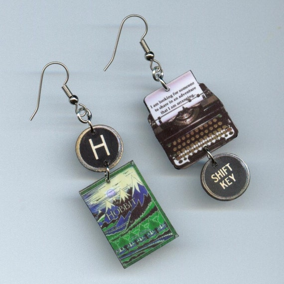 book cover earrings the hobbit vintage by designsbyannette