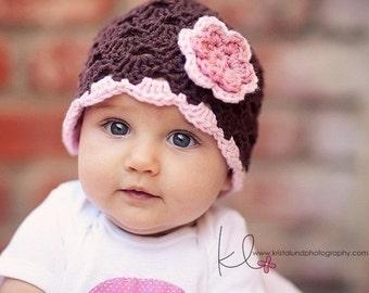 Baby Girl Hat, Ready to Ship, Crochet Newborn Hat, Baby Girl Beanie, Newborn Baby Hat, Newborn Photo Prop, Baby Newborn Hat, Brown Pink