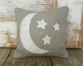 Moon and Stars  - Burlap Feed Sack Doorstop - Moon and Stars Decor - Burlap Door Stop