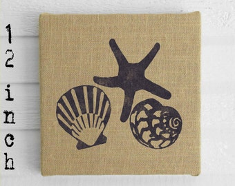 Beach Memories -  Burlap covered Cork Message Board 12 inch - Seashell and Starfish Wall Decor - Nautical Memo Board, Pin Board, Tack Board