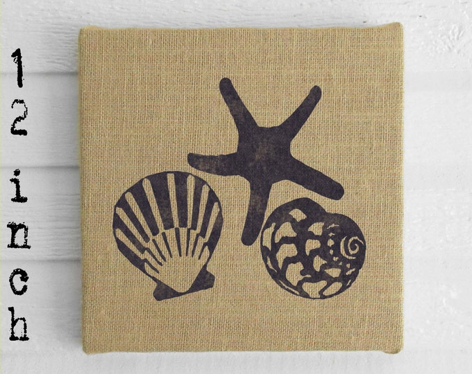Beach Memories -  Burlap covered Cork Message Board 12 inch - Seashell and Starfish Wall Decor - Nautical Memo Board, Pin Board, Tack Board