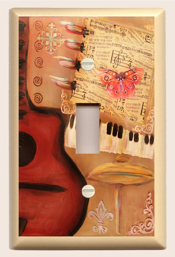 "Single Toggle Light Switch Plate ""Red Guitar, Piano, Red Butterfly"" Original Art in Earthtones and Red"