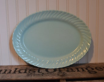 Vintage Oval Turquoise Franciscan Coronado Swirl Small Platter - Royal Hill Vintage