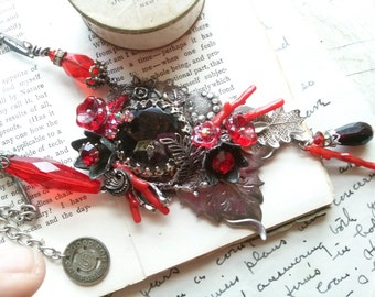 "red statement necklace, woodland wedding necklace, assemblage necklace, found object necklace, collage jewelry, ""Awakening"""