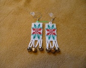 square stitch beaded Christmas Cheer earrings