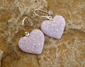 Pink Heart Earrings, Fused Glass Heart Earrings, Pink Glass Earrings, Pink Glass Heart Earrings - Pink Sparkle