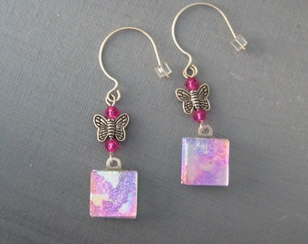 Dichroic Butterfly Earrings, Pink Glass Earrings, Pink Butterfly Earrings, Fused Glass Earrings - Pink Butterflies