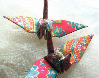 Bollywood in Thailand Peace Crane Bird,  Wedding Cake Topper,  Party Favor, Origami Christmas Ornament, Paper, Place Card Holder, Decoration