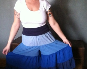 Up-Cycled Flow Pants,Skirted Pants,Pixie Clothing,Festival Clothing,Gypsy Clothing,Flared Pants, Hoop pants