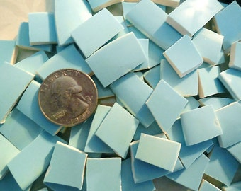 100 Mosaic Plate Tiles / Mid Century Solid Aqua / LOW SHIPPING