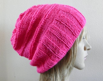 Hand knit slouchy hat wide band in hot pink neon bright fuschia fine wool blend handknitted knitted warm soft slouch beanie