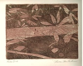 Fallen Birch aquatint etching with chine colle
