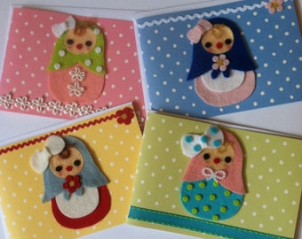 Cute Handmade Matryoshka Blank All Occasion Notecards Dolls Polka dots