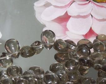 Bastet's Beads-  6 Smokey Grey Glass Teardrop Briolette 7x11mm