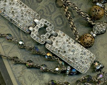 Dripping in Deco--- Antique Assemblage Necklace with Art Deco links and Victorian Beads