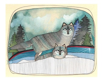 Art Print - Wolf Print - Grey Wolf Art - Oregon Wildlife - Print of Painting - Print of Illustration - 8x10 Art Print - Two Grey Wolves