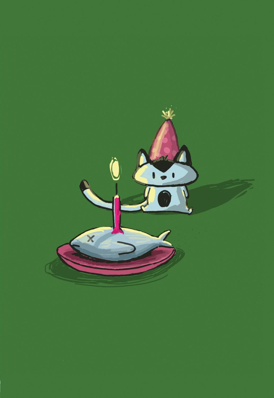 Happy birthday cat greeting card - Feliz cumpleanos en catalan ...