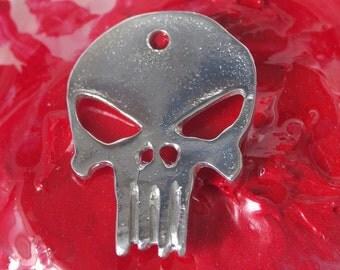 "Alien Skull Pendant -  Hand cast in Canada. Pewter, 1.75"" in length"