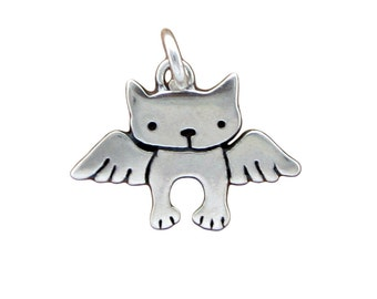 Tiny Angel Kitty Necklace - Sterling Silver Angel Cat Necklace - Cat with Wings - Pet Memorial