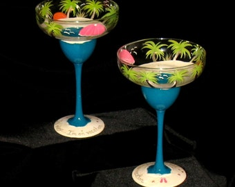 vacation in paradise set of 2 hand painted margarita glasses beach palm - Margarita Glasses