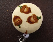 Clip On Retractable Badge Reel / Lanyard with Fabric Covered Button - Acorns