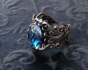 Blue Shell Filigree Ring