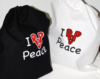 I Rep PEACE screenprinted Drawstring Knapsack Backpack Streetwear