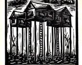 Stilt Houses linocut