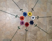 """Up-Cycled Metal: Large 4"""" colorful painted Garden flower stake decorations by GmaJanisew"""