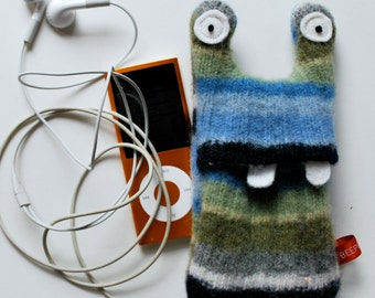 Blue, Green and Gray Stripey Monster iPod or iPhone Cozy