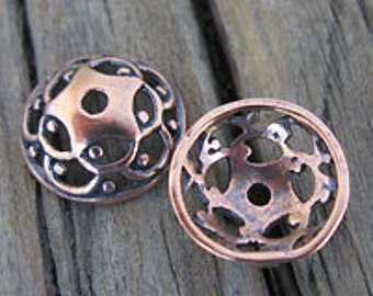 2 Copper Lacey Bead CAPS 11.5mm -Set of 2