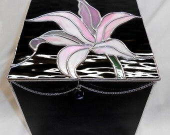 Stained Glass Box, Pink Lily on Black