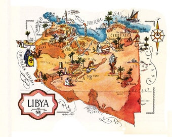 map of Libya from the 1950's, digital download sheet 808