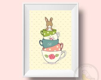 Children's Wall Art Print - Friends for Tea - Bunny and her Tea Cup Print - Girl Kids Nursery Room Decor