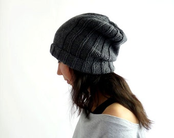Merino Urban Knit Slouch Hat. Men / Women. Handknit Slouchy Watch Cap / Beanie. Grey / Gray. Ski / Winter. Handmade in France