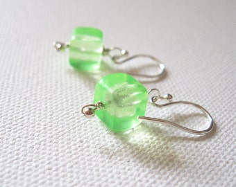 Sterling Silver & Neon Green Cube Earrings Fluorescent Green UK Seller Contemporary Jewellery Gift Idea