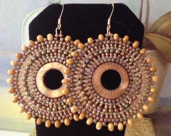 Beadwork Blonde Mother of Pearl Earrings - Big Bold Hoop Earrings