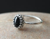 Black Onyx Ring in Sterling Silver 8x10 mm, Princess Crown Gallery Bezel, Gemstone Ring, Size 2 to 15, Womens Ring, Gift for Her, Solitaire