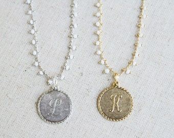 Heirloom monogram necklace in stock in gold from Girls Day Out