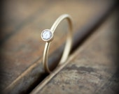 Recycled 14K gold and diamond engagement ring, 0.10ct bezel set conflict-free diamond