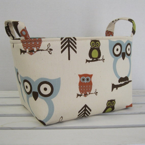 Storage and Organization - Fabric Organizer Bin Basket Container - Hooty Owl - Natural