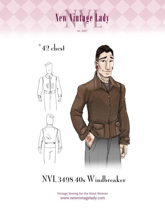 Men's Vintage Reproduction Sewing Patterns 1940s  42 chest Mans Classic 40s Windbreaker 3498 $25.00 AT vintagedancer.com