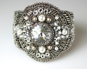 Bead Embroidery Swarovski Crystal and Pearl Bead Statement Cuff