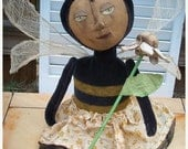 ON SALE Primitive BeeAtrix Mohair Bee Doll