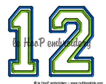 12 number Football FAN Machine Applique Embroidery design 3 sizes Superbowl Hawks Seattle Man